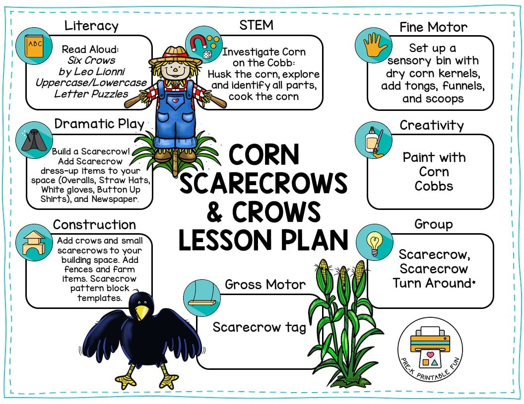 Corn Scarecrows and Corn Lesson Planning Page - Pre-K Printable Fun