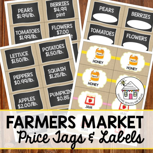 Farmers Market Printable Dramatic Play Pack