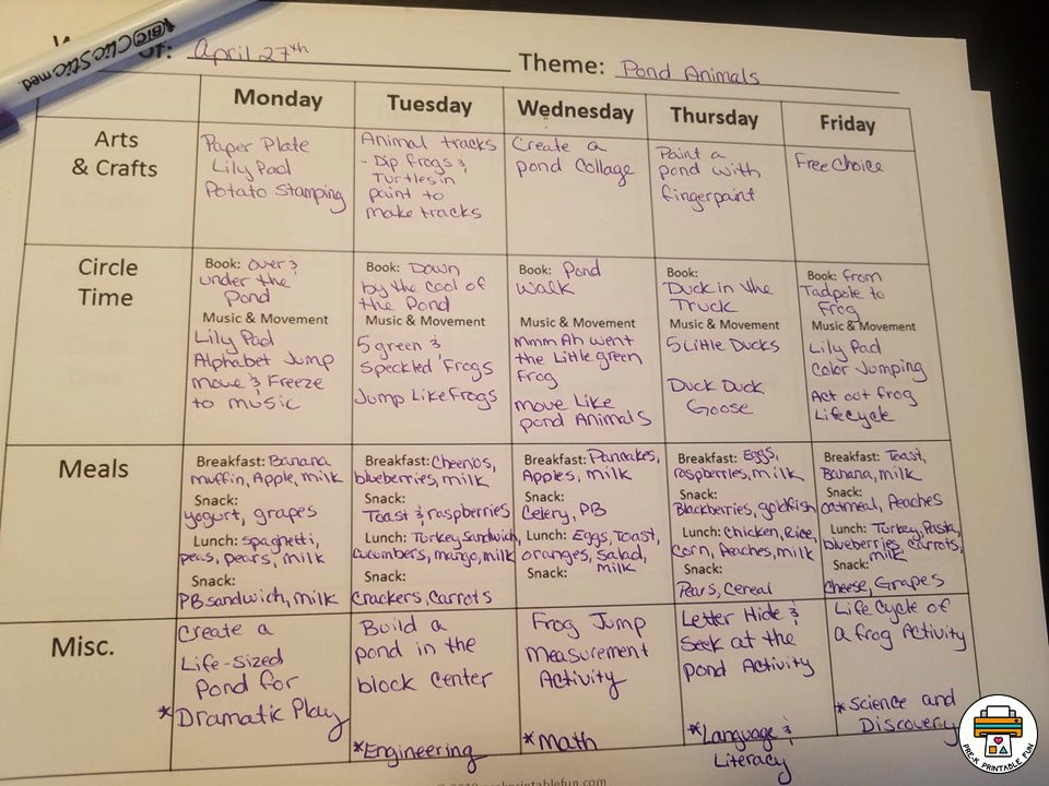 Free Preschool Lesson Planning Template