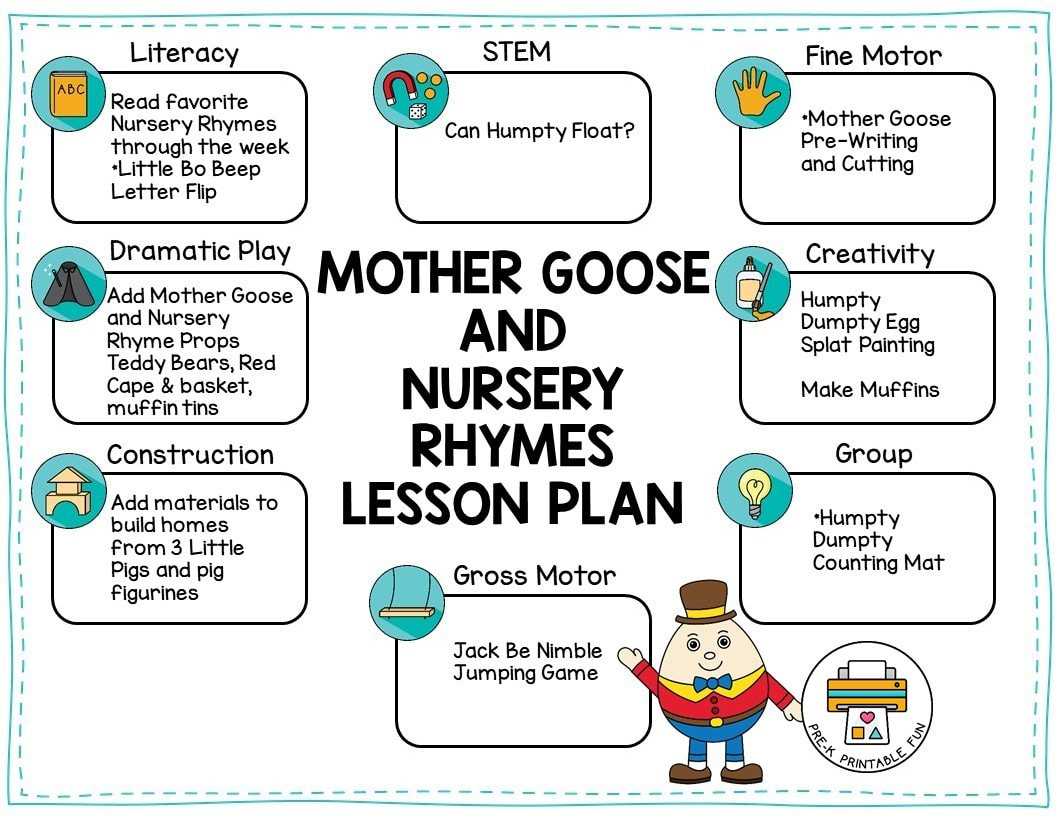 nursery rhymes lesson plans for preschool nursery rhymes and goose theme pre k printable 859